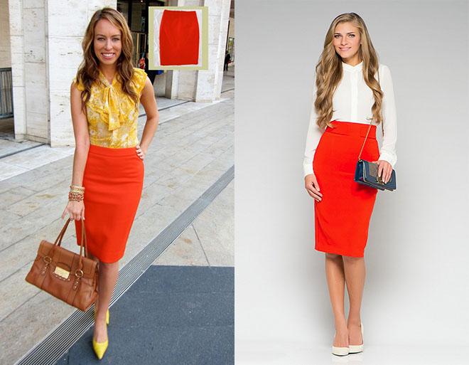 Оранжевая юбка-карандаш со светлой или желтой блузой подойдет для офисного наряда.