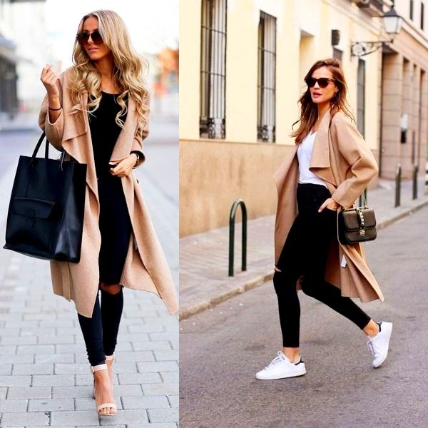 Комбинируйте черные джинсы с бежевым пальто.
