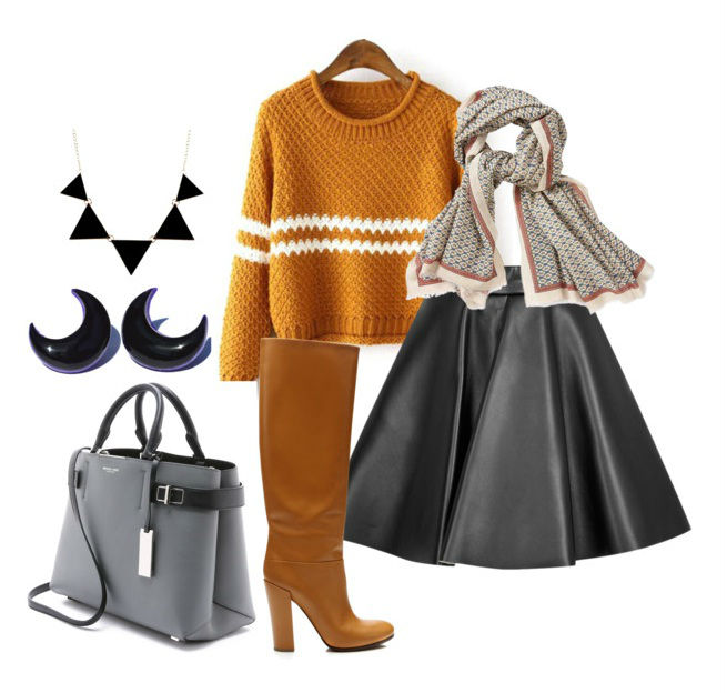 Юбка-клеш, горчичный свитер, сапоги и серая сумка смотрятся очень женственно.