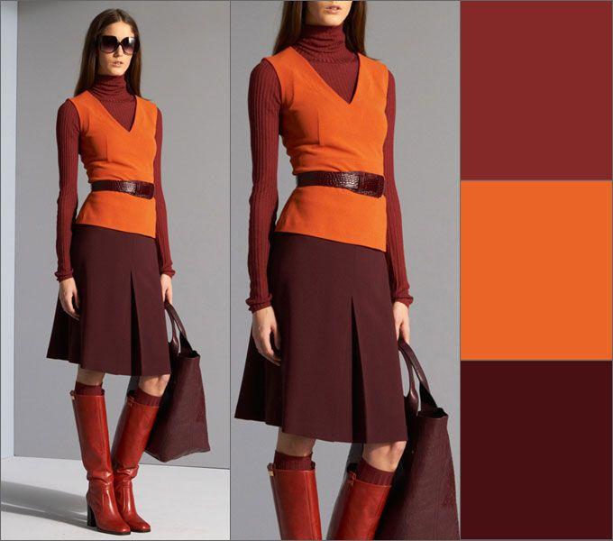 Не бойтесь комбинировать коричневый с оранжевой гаммой.