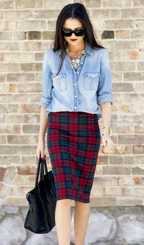 пример джинсовой рубашки c юбкой