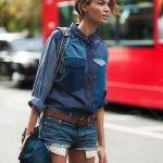 Джинсовая рубашка с мини-шортами из денима 1