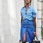 Джинсовая рубашка и юбка-карандаш с разрезом спереди 2