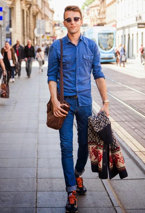 мужской образ с джинсовой рубашкой