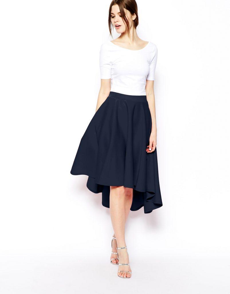 Асимметричная юбка солнце с ниспадающими фалдами придаст образу аристократическую изысканность