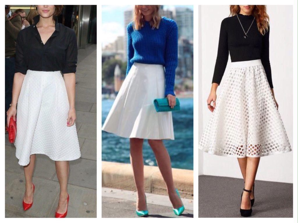 Яркие аксессуары и контрастный по цвету верх – отличное дополнение к белой юбке солнце