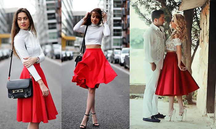 Красная юбка солнце отлично сочетается с верхом более лаконичных расцветок