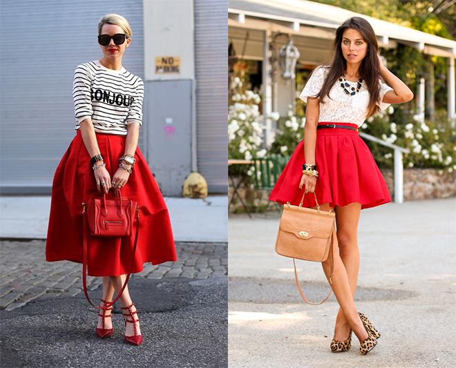 Универсальные черный и белый – традиционно лучшее сочетание с броской красной юбкой солнце