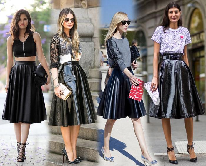 С черной юбкой солнце можно создать стильный black total look