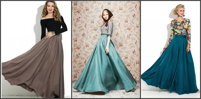 Особенно романтично выглядят длинные юбки солнце в дуэте с блузами с открытыми плечами и цветочными принтами