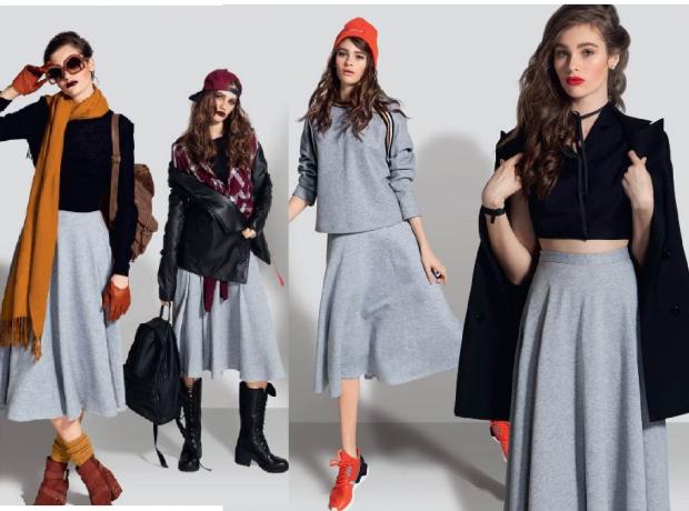 Грубые ботинки и полусапожки – стильная деталь лука с юбкой солнце в повседневной модной капсуле