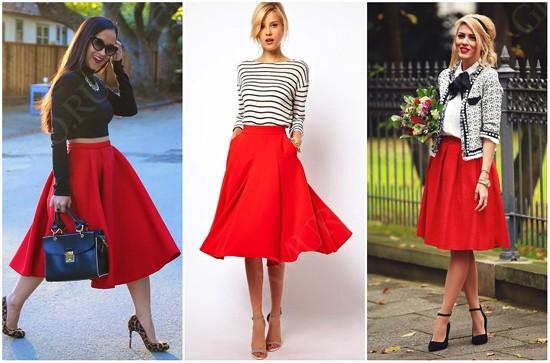 пример юбки-солнце с верхней одеждой