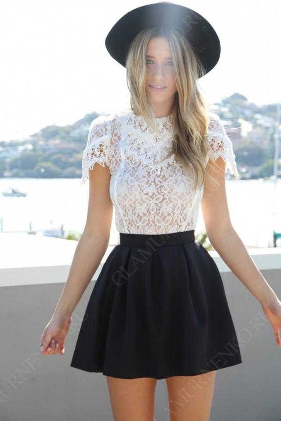 пример юбки-солнце с блузой