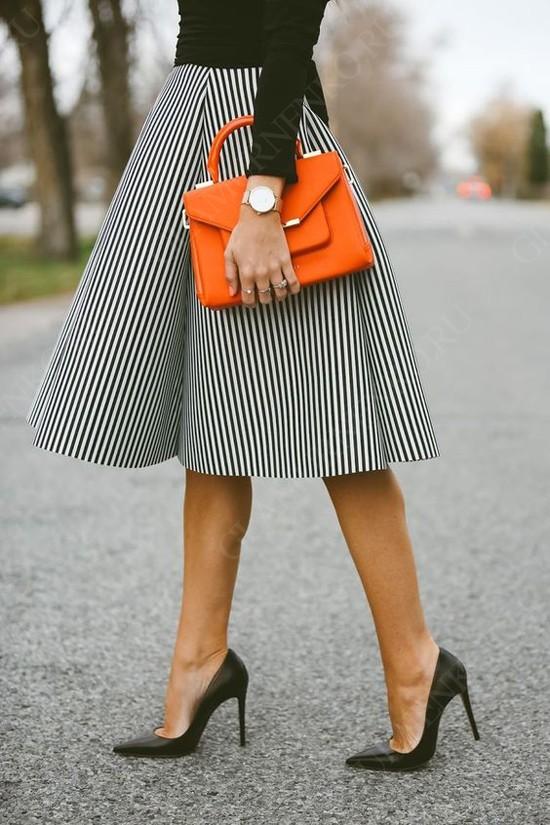 пример юбки-солнце с каблуком
