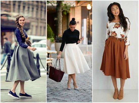 пример юбки-солнце с обувью