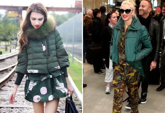Стильный монолук с зеленым пуховиком возможно собрать и с легким платьем, и с одеждой в стиле милитари