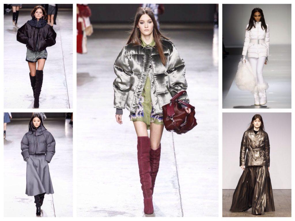 Романтичные и повседневные образы с короткими пуховиками формируют с леггинсами, юбками и платьями разной длины