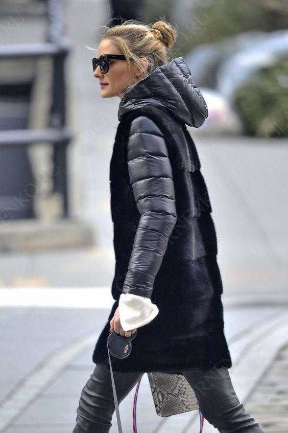 На фото Оливия Палермо в пуховике с меховым жилетом