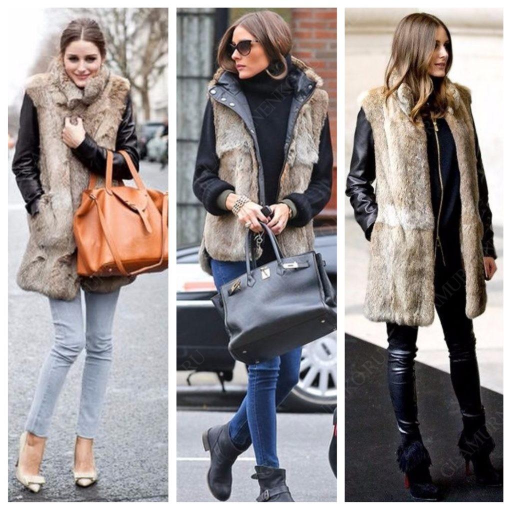 На Оливии Палермо кожаная куртка с меховым жилетом сверху