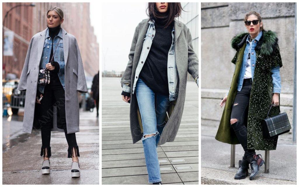 Как совместить джинсовую куртку с пальто?