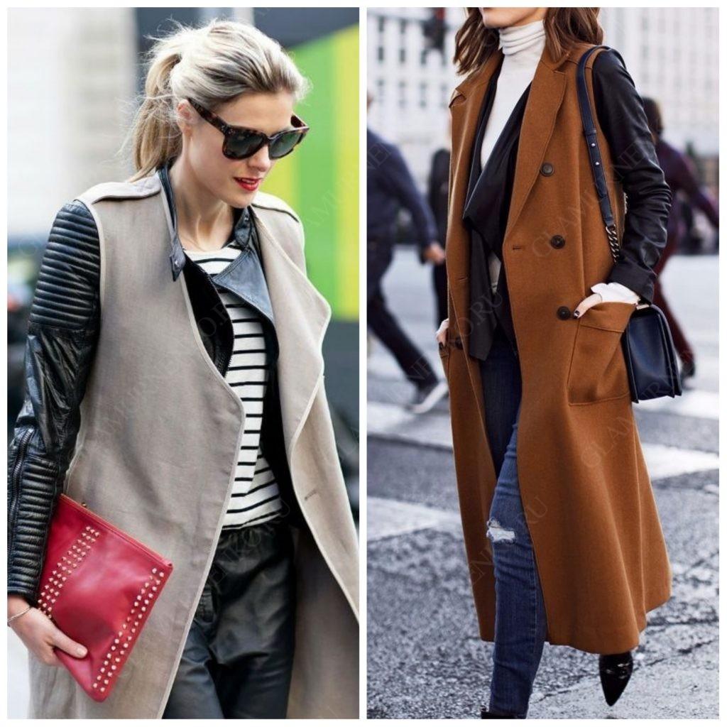 Женщины в жилетах одетых на кожаную куртку