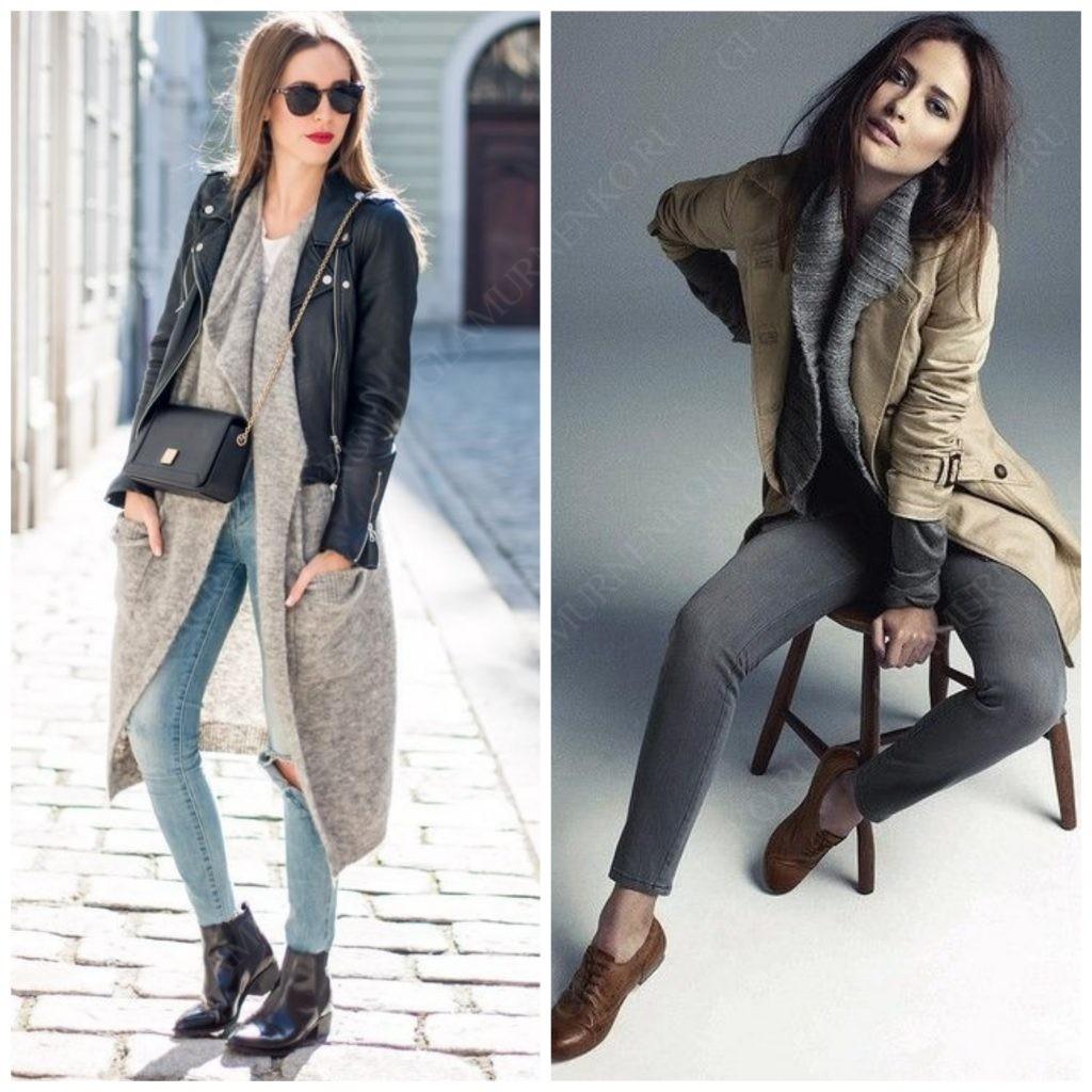 Примеры кардигана под кожаную куртку или пальто