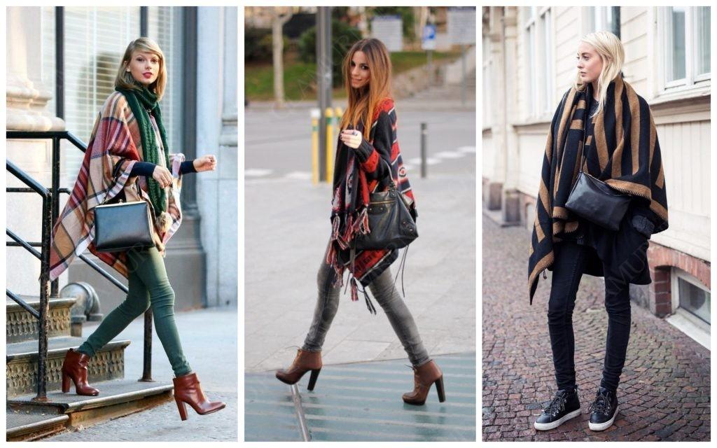 Фото-примеры цветного пончо поверх одежды