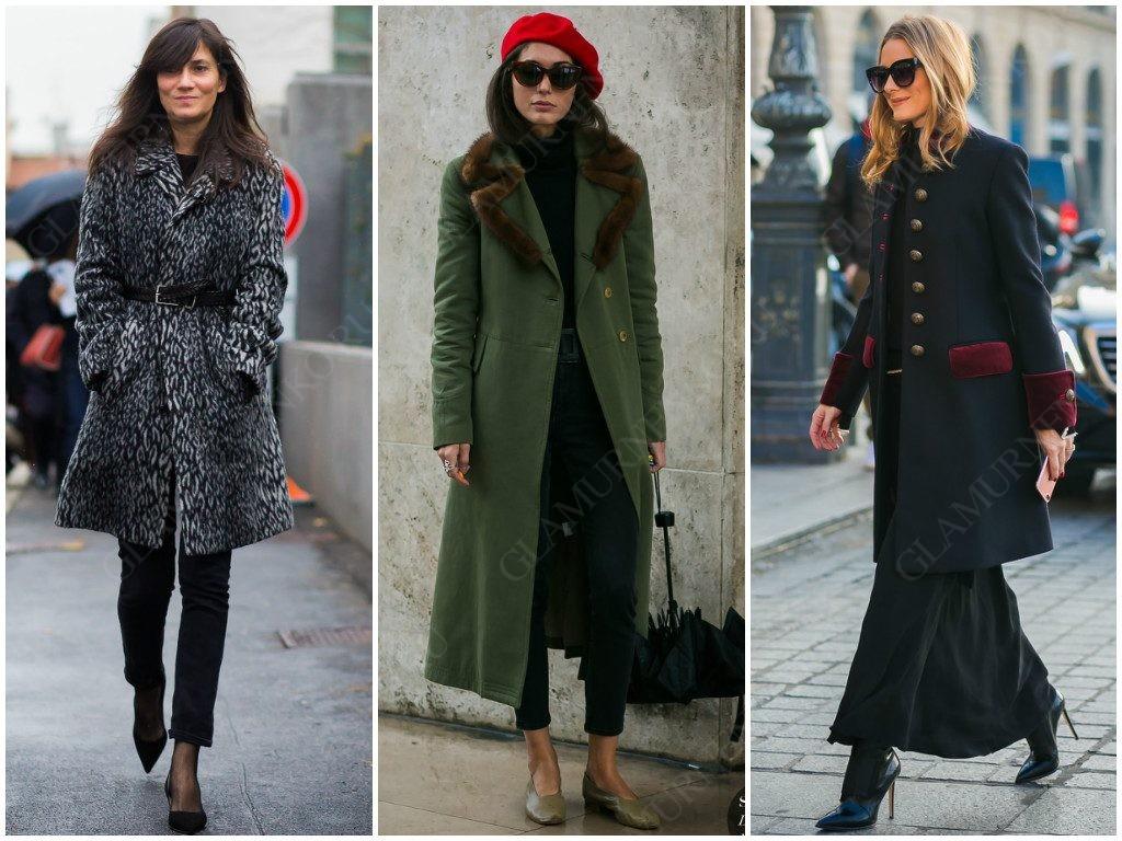 Женщины в однобортном пальто, уличная мода.