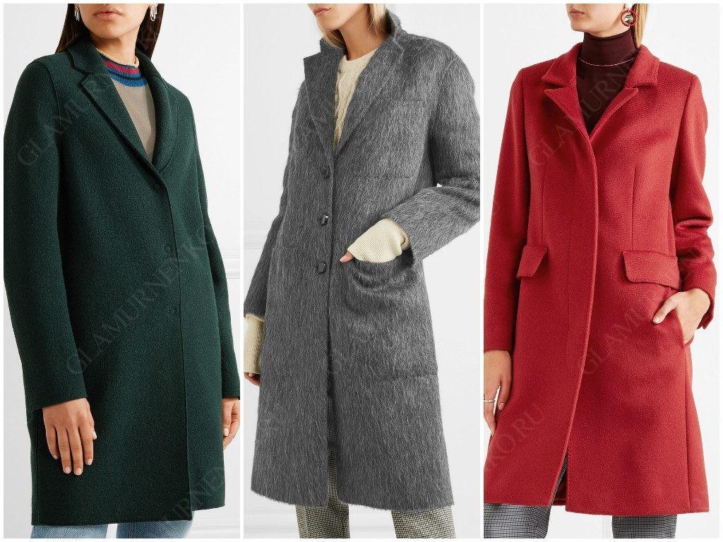 Примеры пальто с маленьким воротником и лацканами.