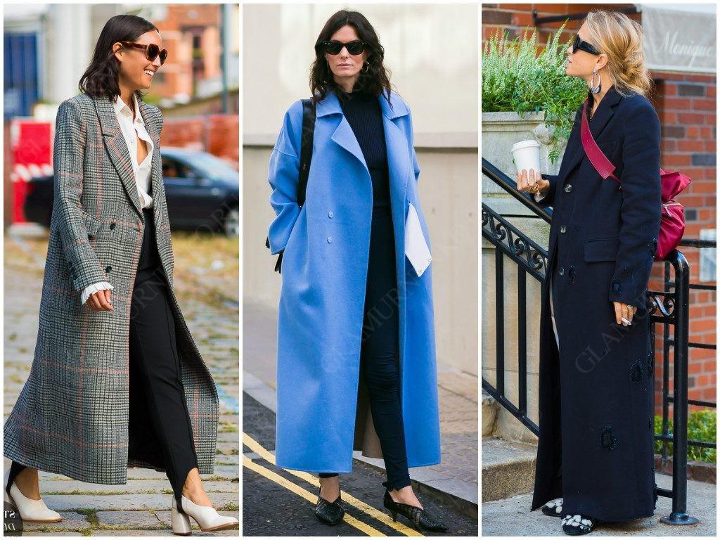 Так выглядят пальто с маленьким воротником и лацканами в уличной моде.