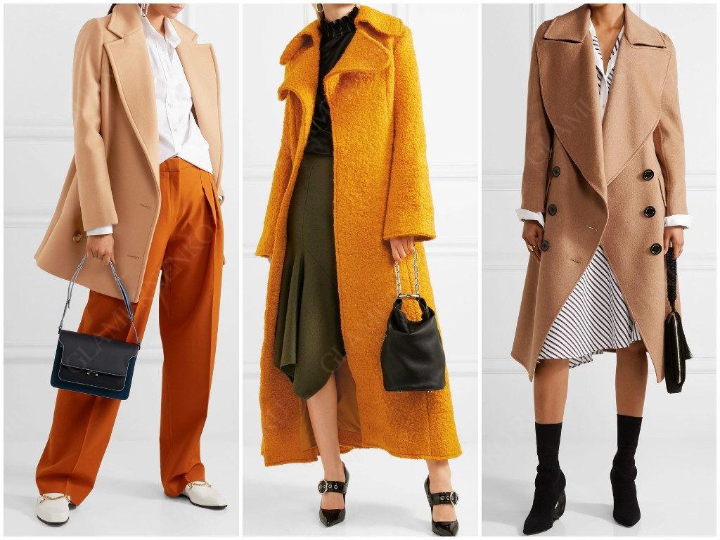 Модные пальто с большим воротником и лацканами.