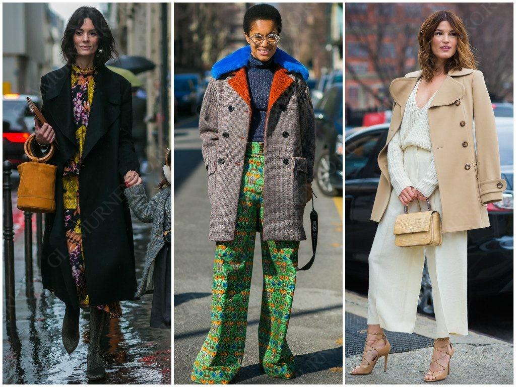 Примеры уличной моды на пальто с большим воротником и лацканами