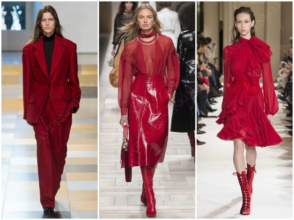 Примеры использования красного от Jil Sander, Fendi, Giambattista Valli