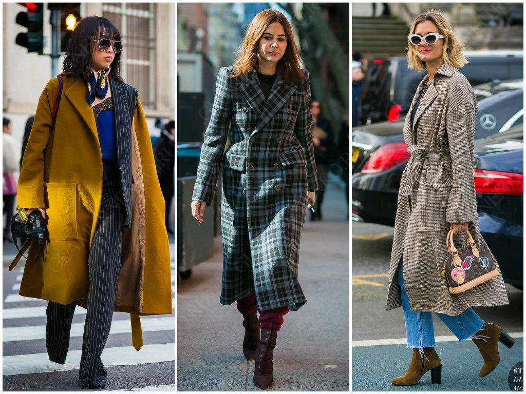 Варианты пальто с накладными карманами в уличной моде