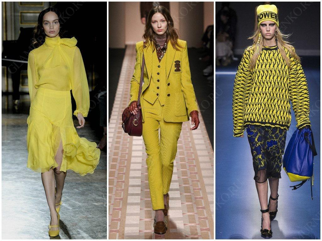 3 примера желтого в этом сезоне от Blumarine, Trussardi, Versace
