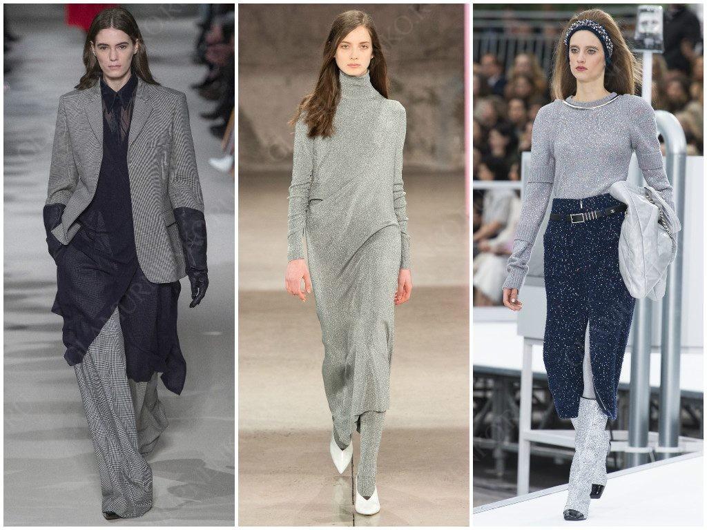 Серый цвет на сезон осень-зима 2017-2018 от Victoria Beckham, Tibi, Chanel