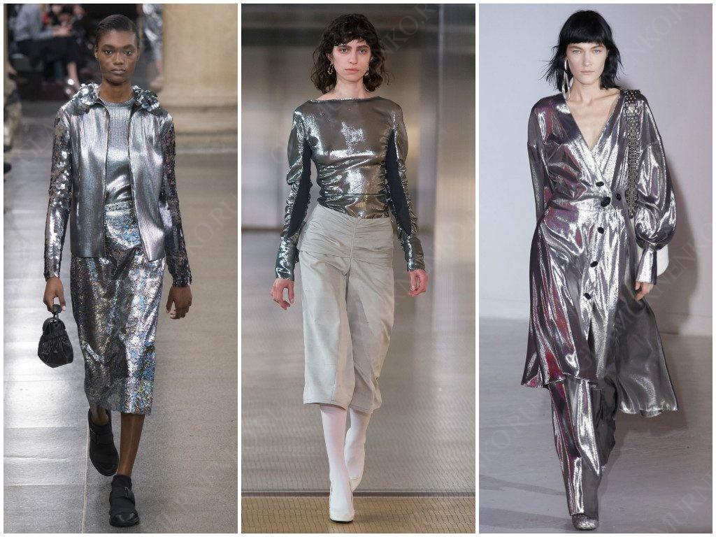 Примеры серебра в этом сезоне от Christopher Kane, Lemaire, Wanda Nylon