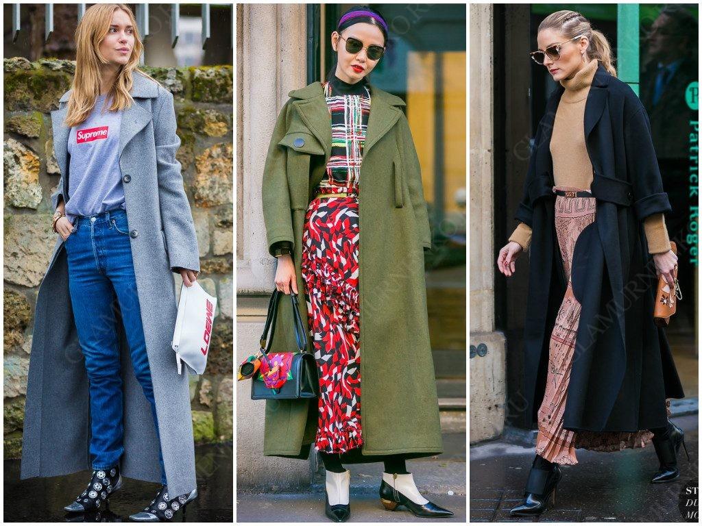 Уличная мода на длинные пальто