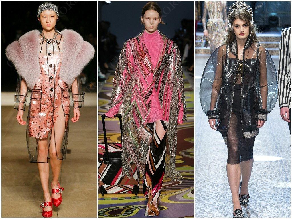Пластик в модных вариантах Miu Miu, Emilio Pucci, Dolce & Gabbana