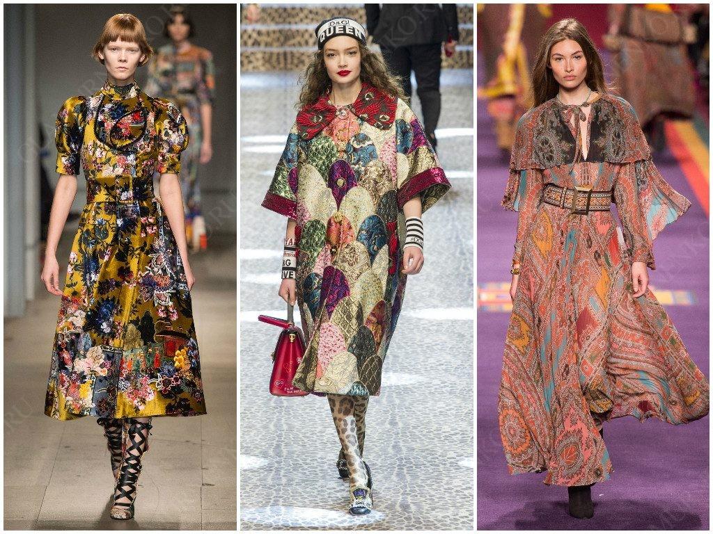 Демонстрация фолк-стиля от Erdem, Dolce & Gabbana, Etro