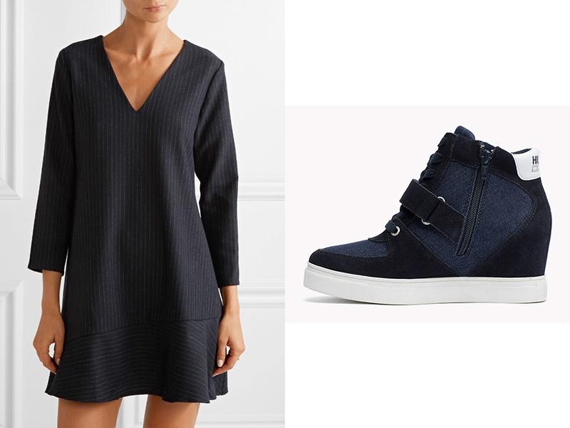 Черное, свободное мини-платье и черные сникерсы - идеальная пара для вечера.