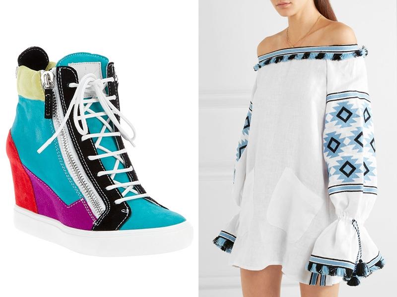 Цветные сникерсы подчеркнут легкость и романтичность светлого платья.