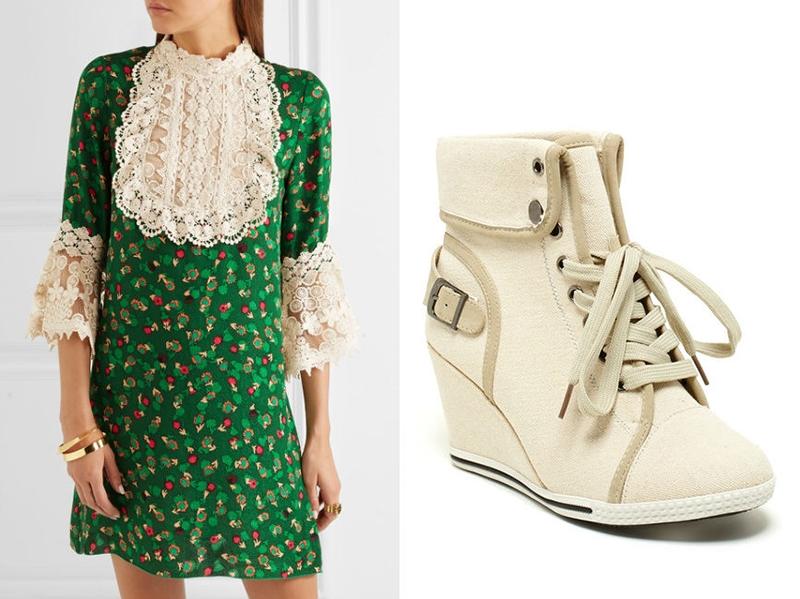 Изысканное и смелое решение - сочетать платье с кружевом и нюдовые сникерсы.