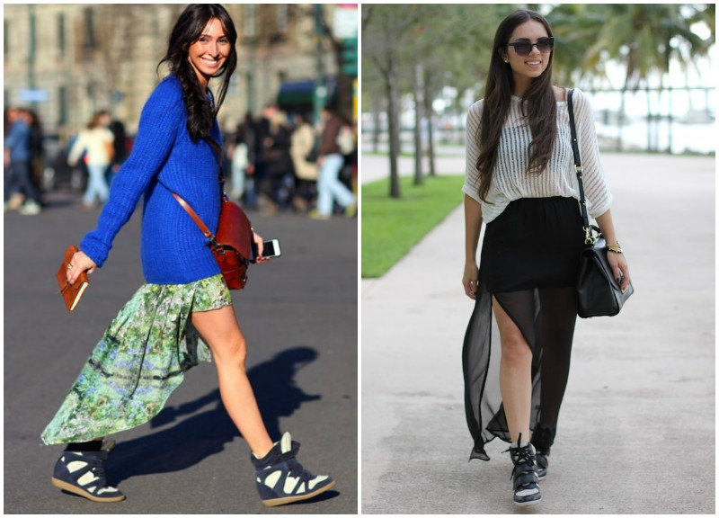 Сникерсы отлично смотрятся с ассиметричными и макси-юбками из легкой ткани.