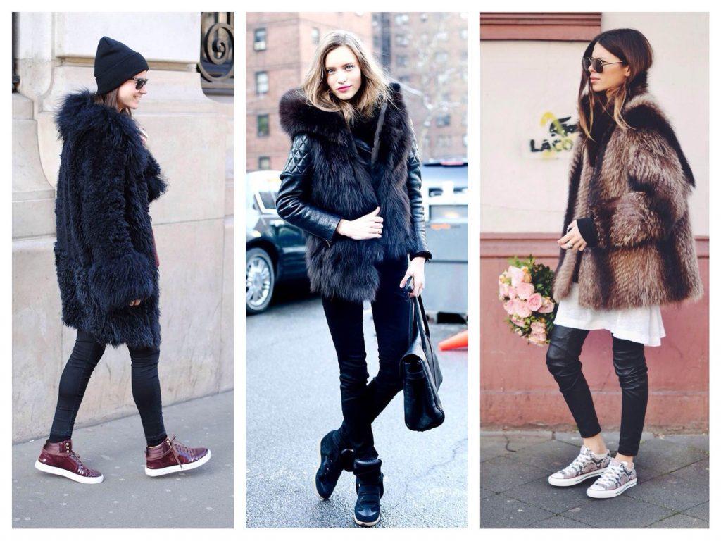 Сникерсы и шубка - отличное зимнее решение для повседневного гардероба.