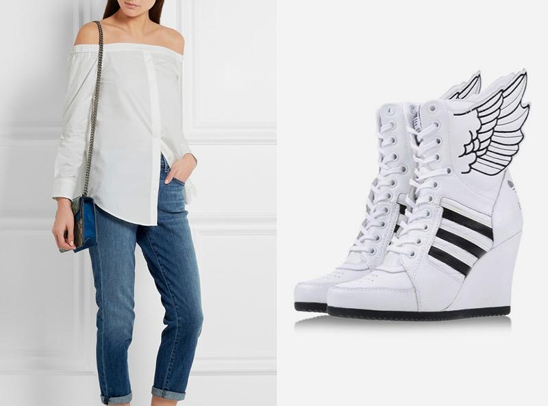 Белые сникерсы сделают эффектным даже сдержанный лук с джинсами и светлой блузой.