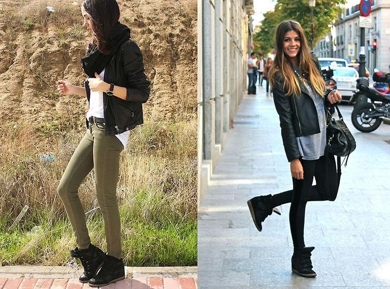 Черные сникерсы удачно смотрятся в сочетании с куртками-косухами того же цвета.