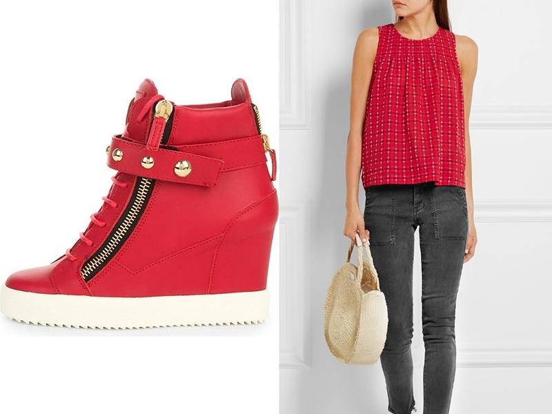 Красные сникерсы отлично вписываются в ансамбли с красными элементами гардероба.