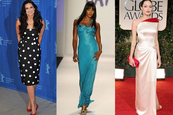 Деми Мур, Наоми Кэмпбел, Анджелина Джоли - яркие представительницы категории Актрис с фигурой V-силуэта