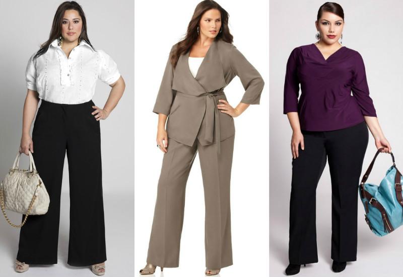 Прямые классические брюки и длинные пиджаки с поясом выделяют талию и скрывают дисгармонию с нижней частью тела типа «яблоко»